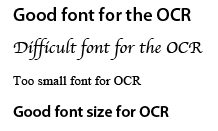 "Good font for the OCR mfizufrfomfiv rfie DC'R m m"" {mu mom Good font size for ocn"